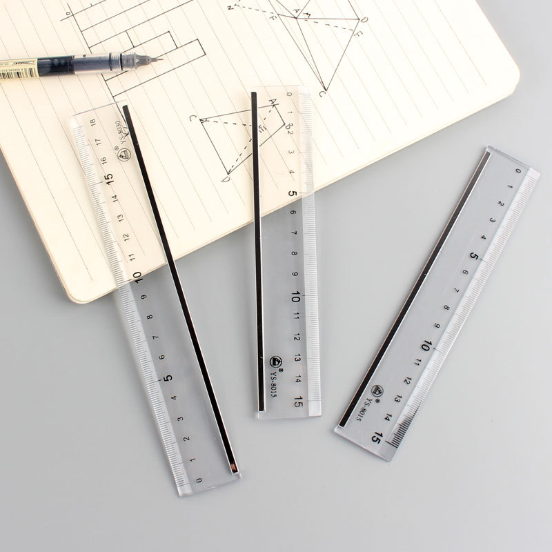 Creative Transparent INS-Style Simple Acrylic Ruler Northern European-Style Ruler Metal Covered Edge Students PDA Feet 15 Cm