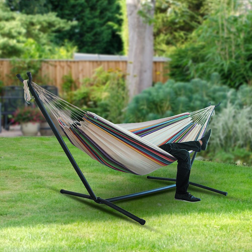 Outdoor Large Hammock With Steel Stand For Garden Courtyard Indoors /without Shelf Double Hammock Hanging Chair