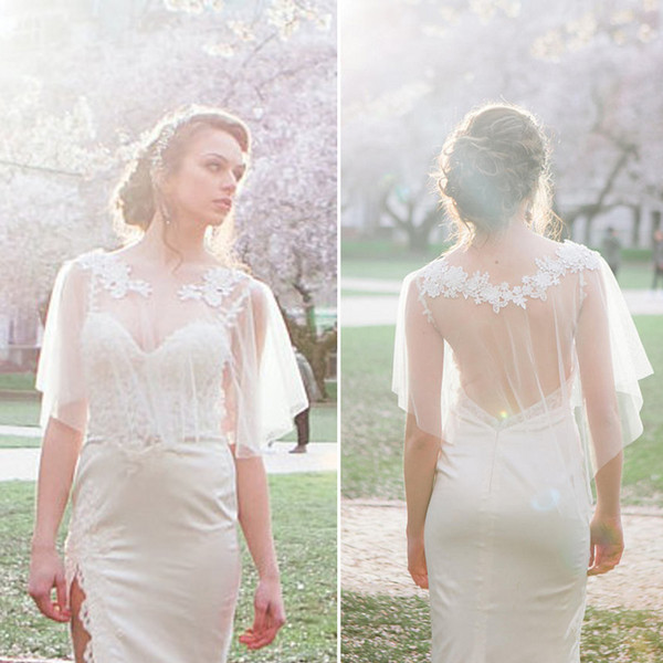 Modest Wedding Dresses Shrugs Bohemian Wedding Boleros Appliques Lace Tulle Bridal Shawls Boho Bridal Jackets Accessories