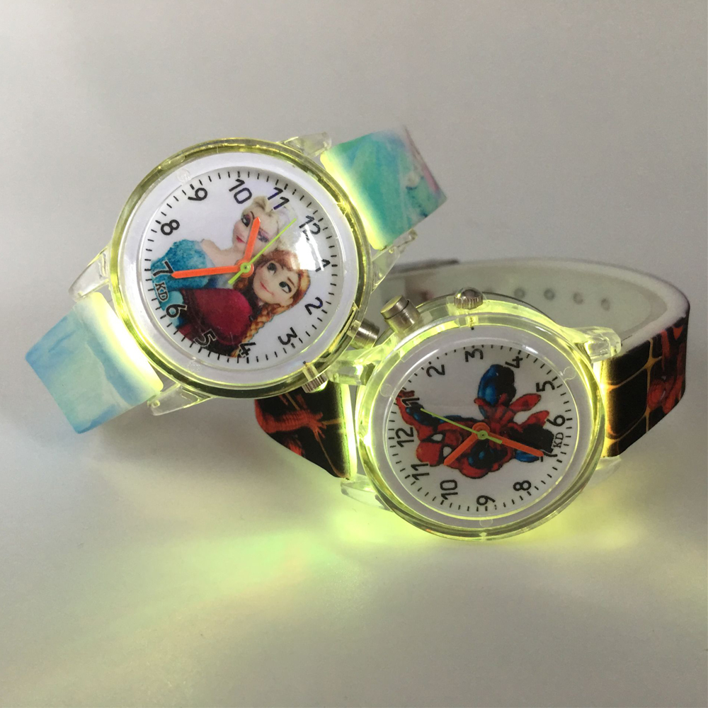 Spiderman Children Watches Cute Cartoon Electronic Quartz Watch Boy Girl Colorful Light Wristwatch Kid Princess Elsa Relojes New