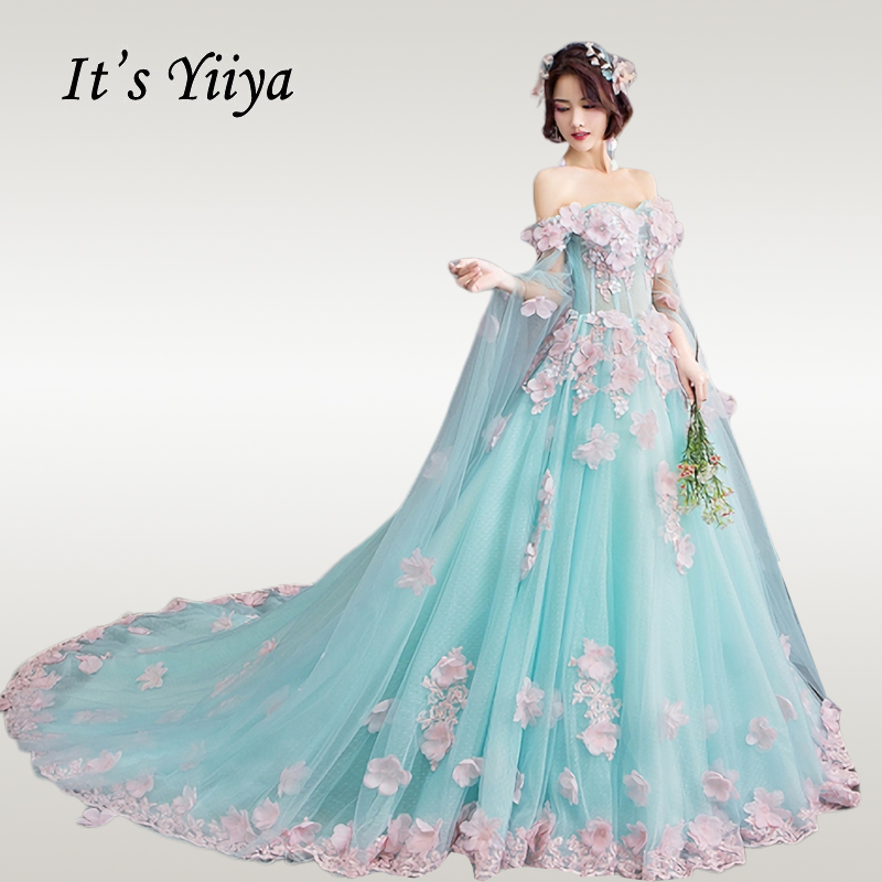 It's YiiYa Wedding Dress Luxury Boat Neck Appliques Beading Wedding Ball Gowns Green Illusion Plue Size Robe De Mariee CH166