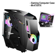 Desktop ATX Computer Case Gamer Gaming Computer Towers Water-Cooled Tempered Glass USB 3.0 PC Case Support M-ATX/ ITX Motherboad