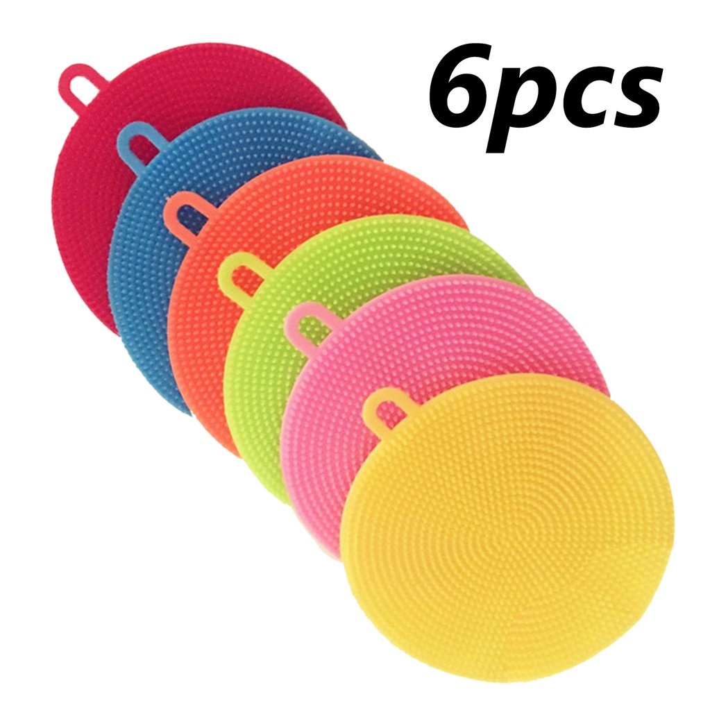 6Pcs Silicone Cleaning Brushes Soft Silicone Scouring Pad Washing Sponge Dish Bowl Pot Cleaner Washing Tool Kitchen Accessories