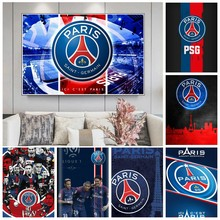 5d logotipo do futebol diy diamante bordado psg logo pintura diamante saint-germain equipe de futebol mosaico ponto cruz decoração da sua casa