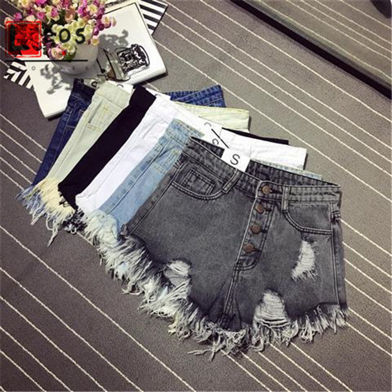 Women's Shorts Jeans  Casual Summer  Denim Shorts High Waists Fur-lined Leg-openings  Sexy Short Jeans Loose Korean Style