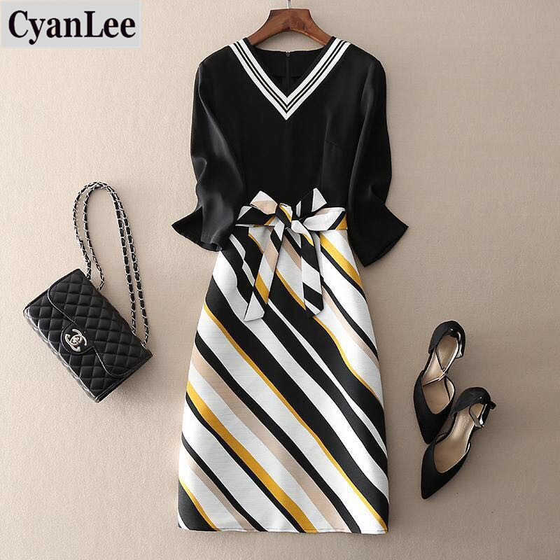 2020 New Women's Stripe Splicing Summer Dress Elegant Ladies Large Size 4XL Short Sleeve Fake Two Pieces Slim Chiffon Dresses