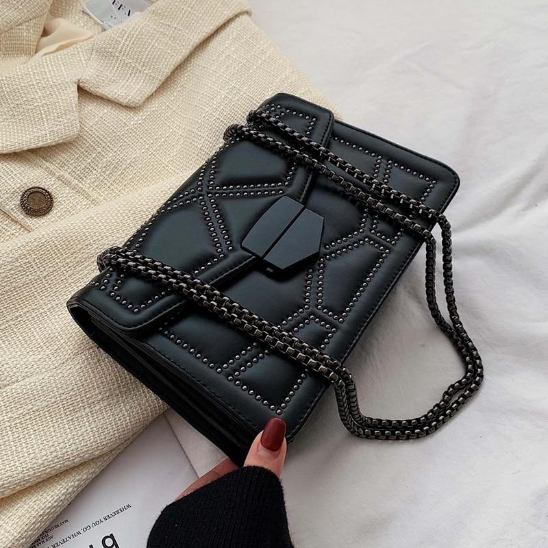 Crossbody-Bags Rivet-Chain Small Handbags Fashion Simple Lady Luxury Brand Designer PU