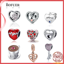 100% 925 Sterling Silver Gift of Love Heart Beads Fit Original Pandora DIY Charm Bracelet Jewelry Romantic Lover Gift