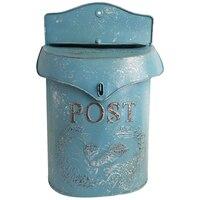 Estilo europeu ferro retro caixa de correio azul