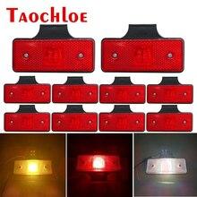 10 pces 12v 24v led lado luzes de marcador caminhão reboque trator apuramento lâmpadas piscas indicador luz running vermelho branco âmbar