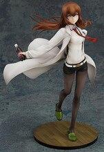 Anime 21cm steins portão makise kurisu membro do laboratório 004 branco roupas sexy menina pvc figura de ação modelo brinquedos decoração boneca
