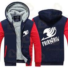 Winter Warm Anime Fairy Tail Hoodies Men Women Anime Cosplay Sweatshirts Thick Fleece Zipper Men Jacket&Coat