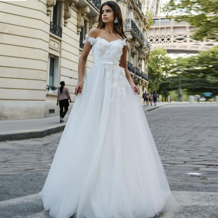 Sweetheart Neckline Off The Shoulder Beading Handmade Flowers A-line Wedding Dress With Pleat Bow Belt Lace-up Bridal Dress