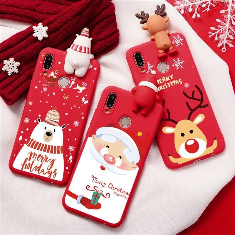 Christmas Cute Doll Phone Case For Coque Huawei Honor 8X 9X 7X 7S 20i 20 10 10i Lite Pro V10 Play Case Cartoon Cover Funda Capa