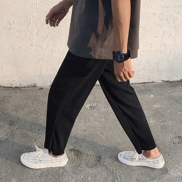 Pleated Straight Pants Men's Fashion Solid Color Elastic Waist Casual Pants Men Streetwear Loose Japanese Ice Silk Trousers Mens 3