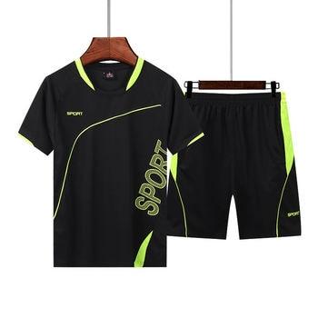 2 sets men's sports set summer men's Sportswearprint fitness M-5XL  quick-drying clothes short-sleeved fashion T-shirt + shorts