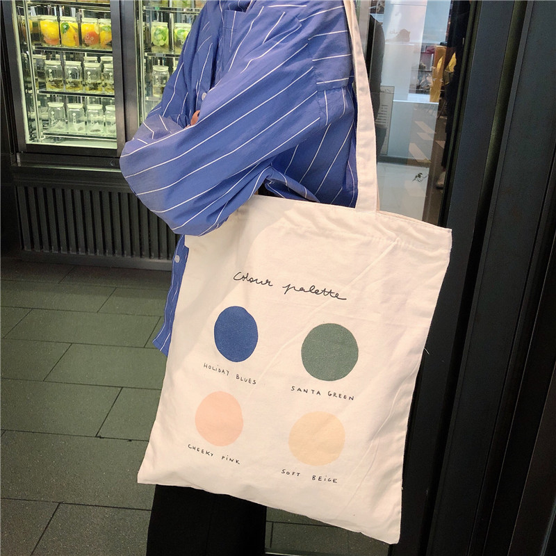 High Capacity Women Canvas Tote Ladies Casual Cloth Shoulder Bag Foldable Reusable Shopping Beach Bag Solid Girl Shopper Travel
