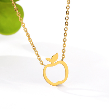 New Round Coin with Hollow Apple Shape Necklace Funny Fruit Apple Pendant Circle Necklaces for Mentor Teacher Party Gifts image