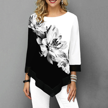 Floral Printed Women Shirt Asymmetric Hem Autumn Blouse Shirt