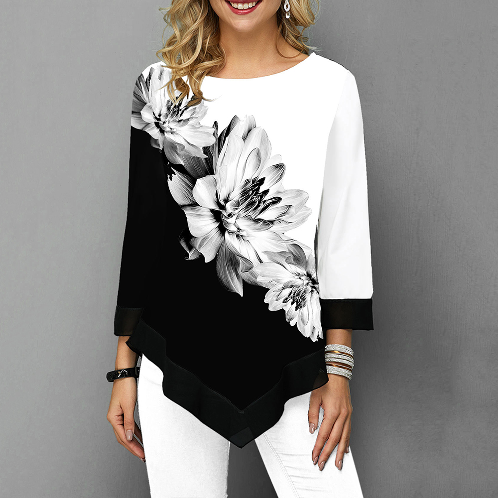 Floral Printed Women Shirt Asymmetric Hem Autumn Blouse Shirt For Woman Flower Print Tops O Neck Blusas Fashion Female Camisa
