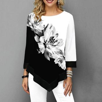 Kwiatowa drukowana damska koszula asymetryczna Hem jesienna bluzka koszula dla kobiety kwiat koszule z nadrukiem O szyi Blusas moda kobieta Camisa tanie i dobre opinie COTTON Poliester REGULAR O-neck WOMEN NONE Dziewięć dzielnica Na co dzień Popelina Floral 509045