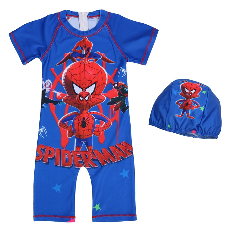 KID'S Swimwear Boys' Overall Boy Tour Bathing Suit Cartoon Spider-Man Baby Printed Swimwear Swimming Cap 0389
