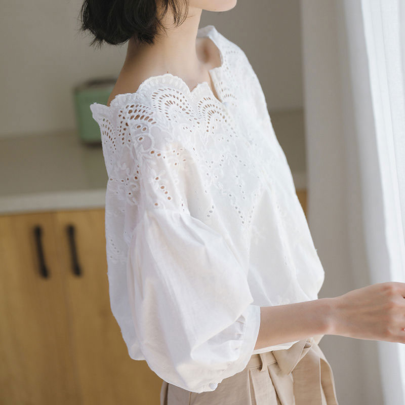 Summer Korea Fashion Women Shirt Loose Off Shoulder Hollow Out Ladies Blouses Cotton Sweet Cute Short Sleeve White Shirt D192