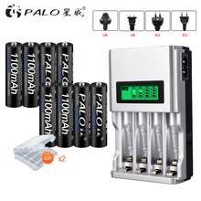 цена на PALO Intelligent LCD Display Battery Charger For NI-MH NI-CD AA AAA Rechargeable Battery Charger+8pcs AAA Batteries