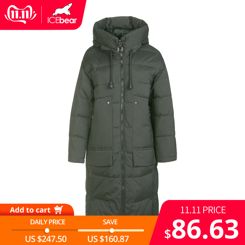 ICEbear 2019 New Winter Long Women's Down Jacket Fashion Warm Female Jacket Hooded Brand Ladies Clothing GN318329P