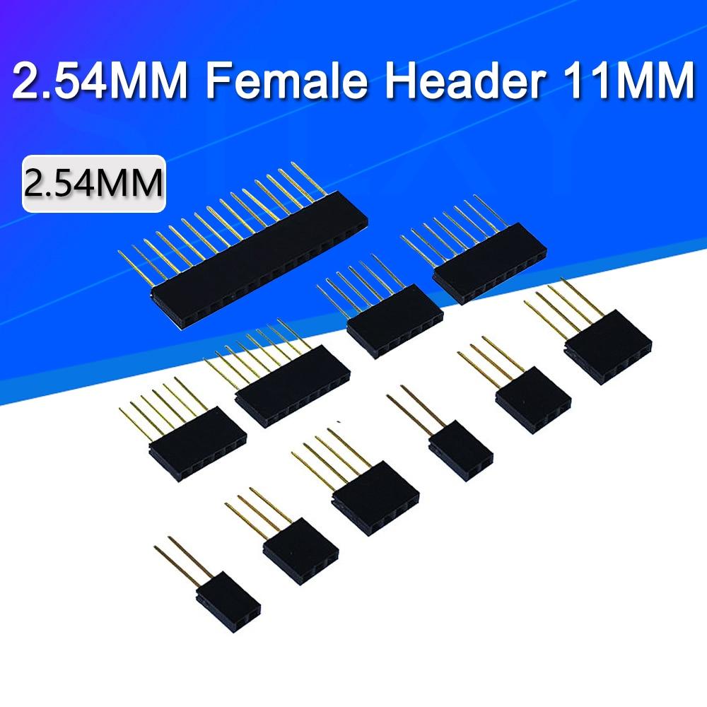 10 шт. 1x2/3/4/6/8/10/15 Pin 2,54 мм штабелируемые длинные ножки Femal Header для Arduino Shield Stlxy