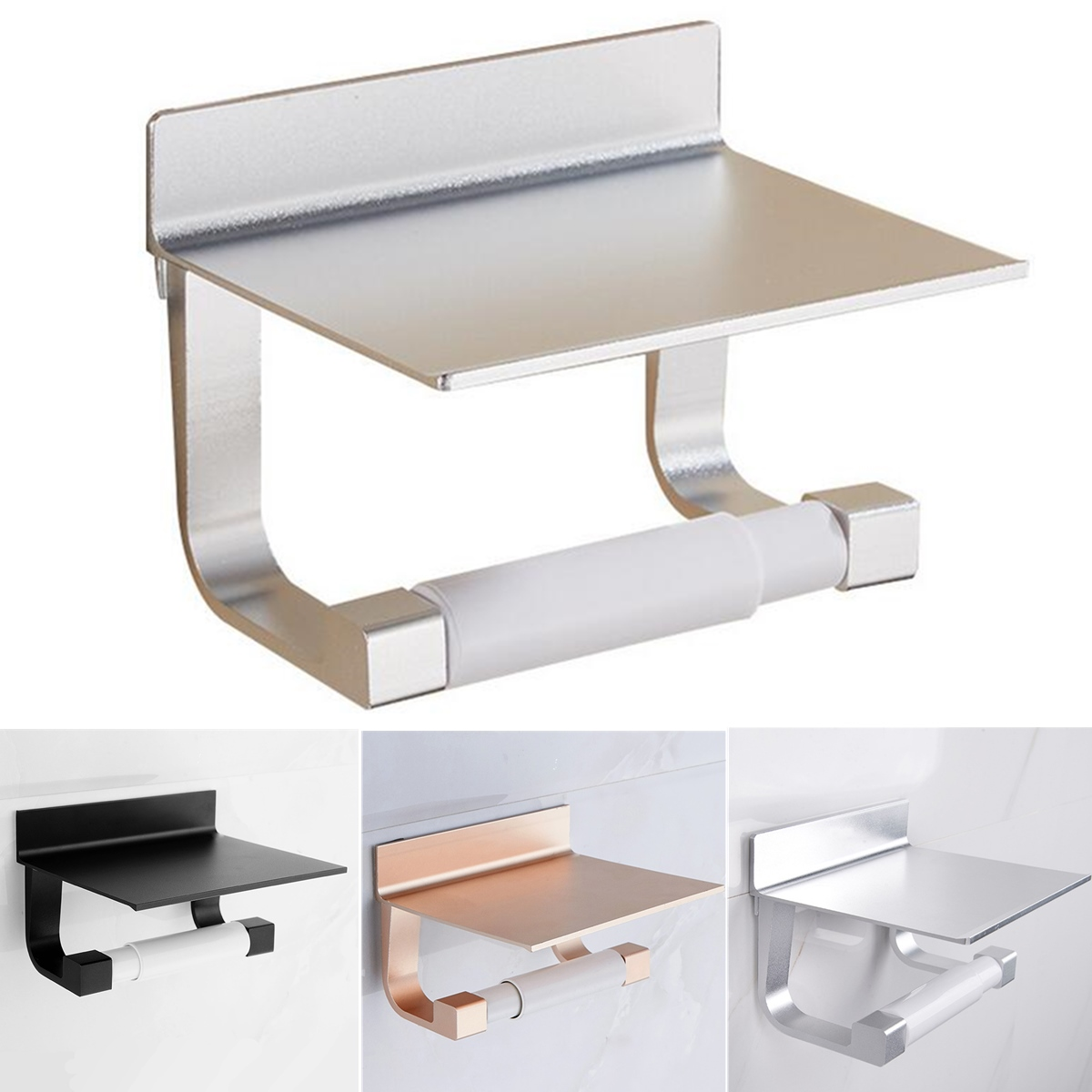 Toilet Paper Holders Space Aluminum Multi-function Storage Holder Bathroom Towel Shelf  Holder Free Punching