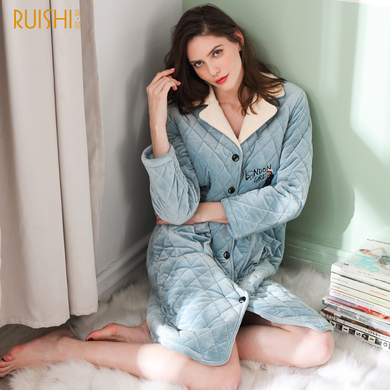 Women Bathrobes Warm Robe Winter Velvet Cotton Padded Solid Embroidered Winter Kimono Home Coat Thick Stitch Kimono Bath Robe