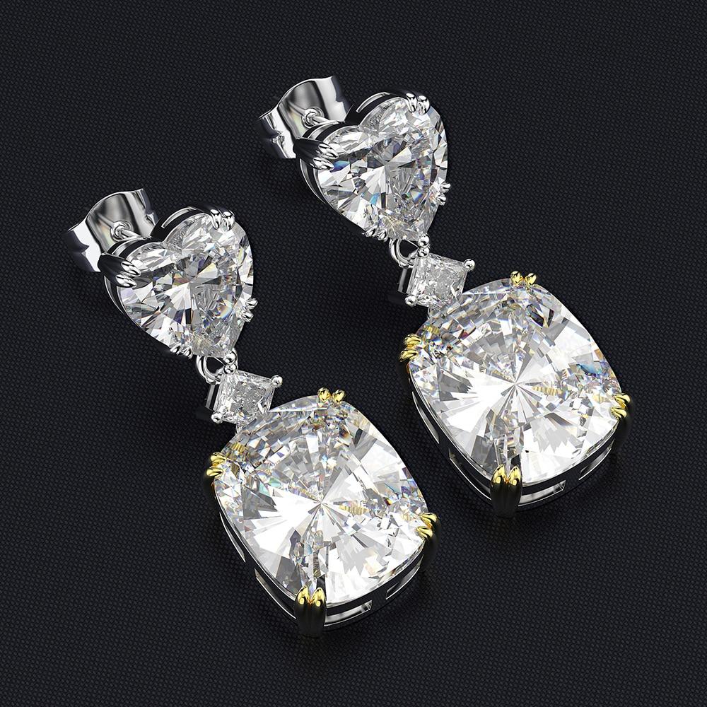 Wong Rain Luxury 925 Sterling Silver Heart Created Moissanite Gemstone White Gold Drop Dangle Earrings Fine Jewelry Wholesale