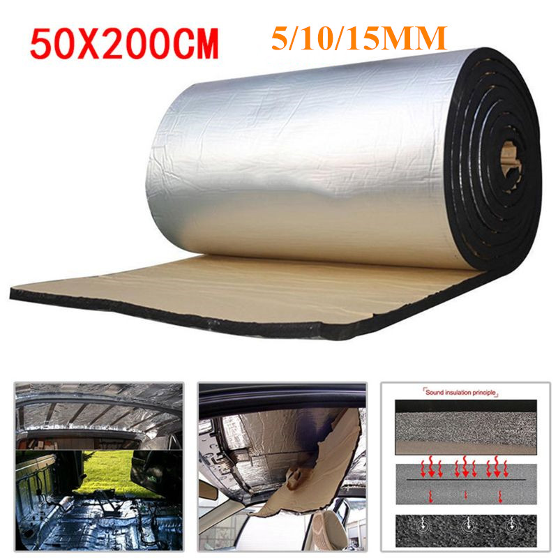 50x200cm 5/10/15mm Car Sound Deadener Mat Noise Bonnet Insulation Deadening for Hood Engine Sticker