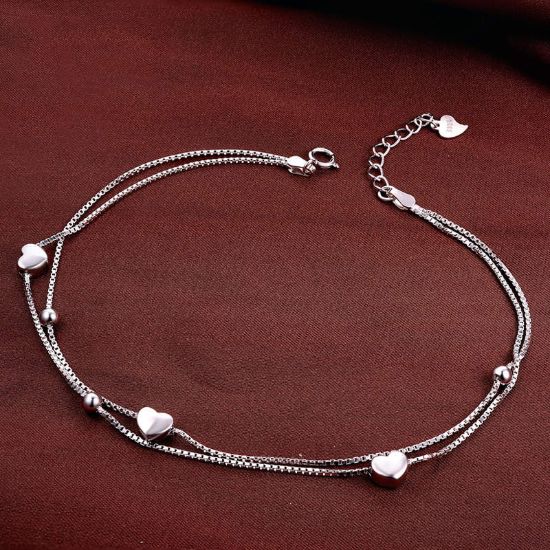 Ankle bracelet silver 925 Heart Infinity Anklet Bracelets Heart Pendant Double Box Chain Anklet tobilleras pulsera para tobillo