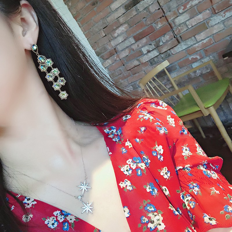 Женские Висячие серьги mengjiqiao корейские элегантные разноцветные