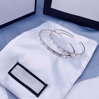 1:1 original Luxury brands high quality Opening Elf bracelet S925 Sterling silver Jewelry Men's and women's fashion Logo gift men and women wear gorgeous retro double letter opening bracelet adjustable s925 sterling silver jewelry luxury brands logo gift