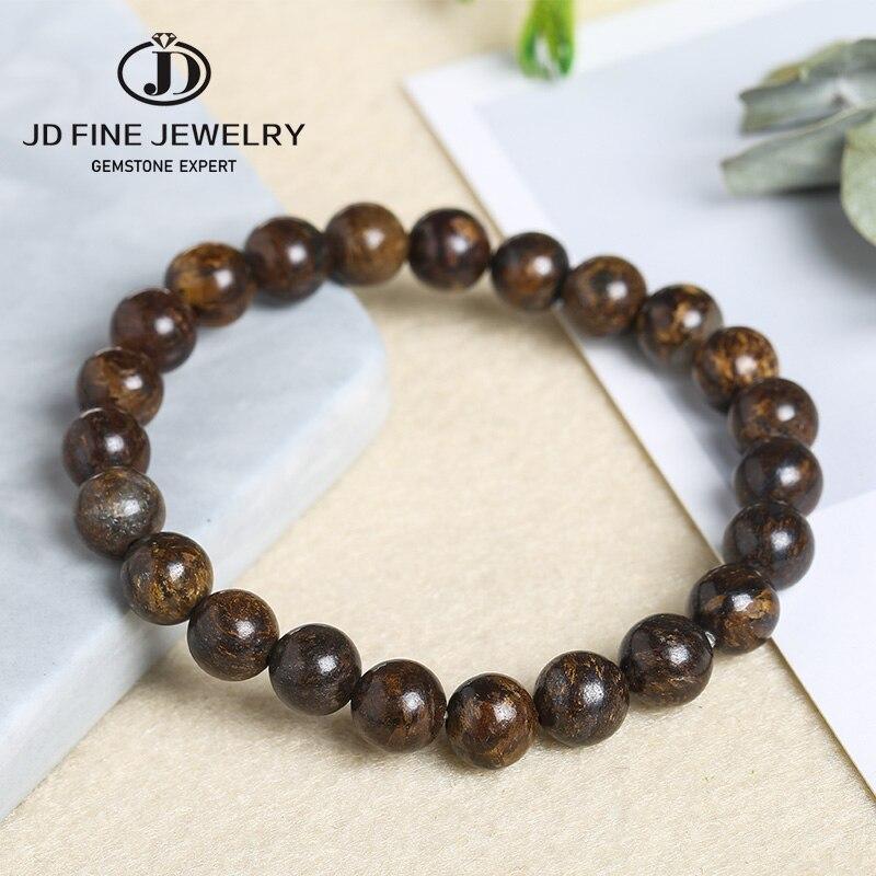 JD круглые бронзовые бусины из натурального камня, 4 6 8 10 12 мм, Diy Шарм, гибкий браслет, коричневый цвет, ювелирные изделия для мужчин и женщин