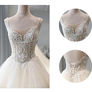 Image 5 - מבריק חרוזים קריסטל גוף נסיכת חתונה שמלות אונליין Vestido Noiva כתף רצועות ללא משענת כלה אשליה