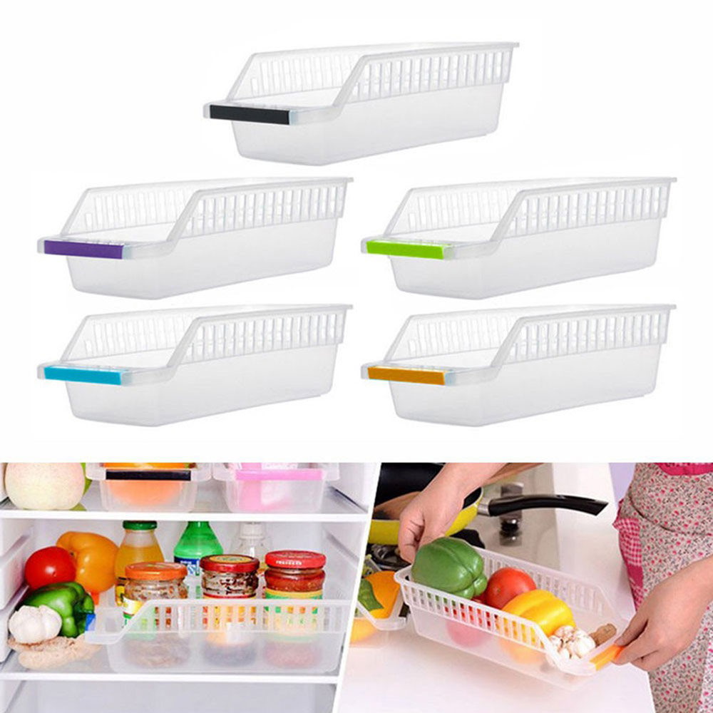 1 Pcs High Quality ABS Container Box Kitchen Fridge Freezer Space Saver Organizer Refrigerator Storage Rack Shelf Holder Drawer