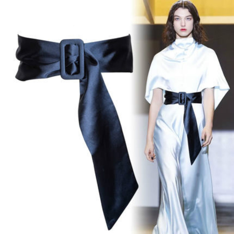 Imitation Silk Bandwidth Waistband And With Decorative Dress Skirt Scarf Red Blue Pink Suitable For Lady Design Waist Seal