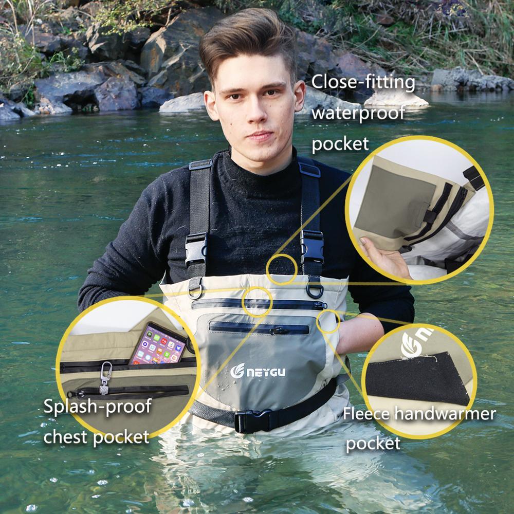 NEYGU Overalls Waist-high Waterproof Fishing Waders, Hunting Waders Integrated Socks For Man And Women