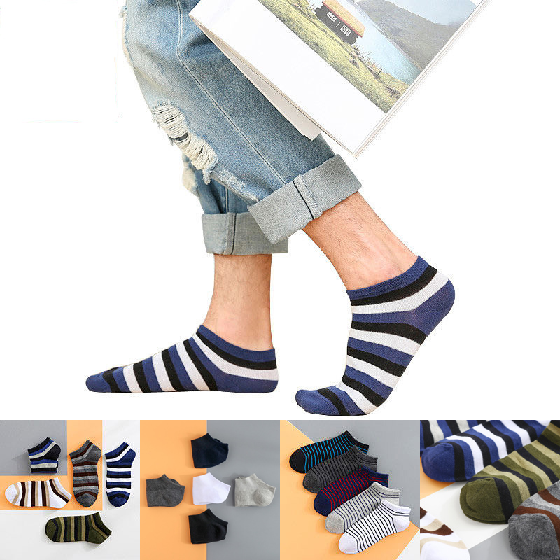Men's Sports Socks Cotton Stripe Boat Socks All Seasons Spring Autumn Male Casual Harajuku Breathable Men Ankle Sock Boy New