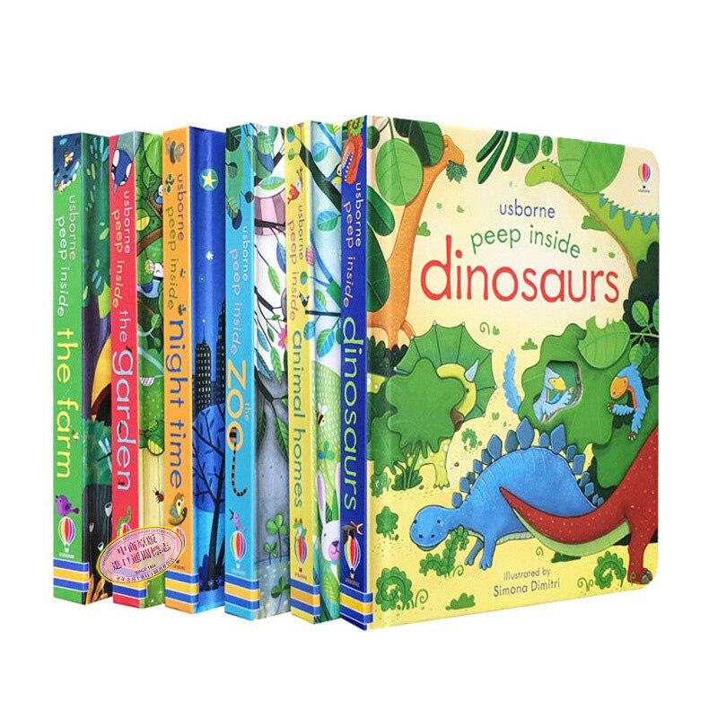 6PCS Usborne Peep Inside The Zoo Animal English Educational 3D Flap Picture Books Baby Children Reading Book School Supplise