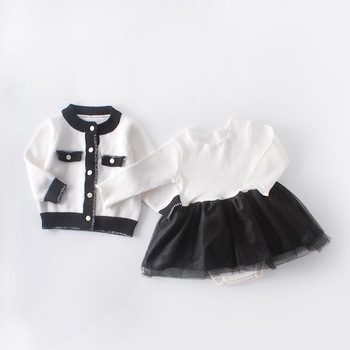 Sweet Ins Baby Girls Ruffles Tulle Knitted Rompers with Sweater Cardigan Jackets 2pcs Sets Spring Autumn Cute Children Clothes