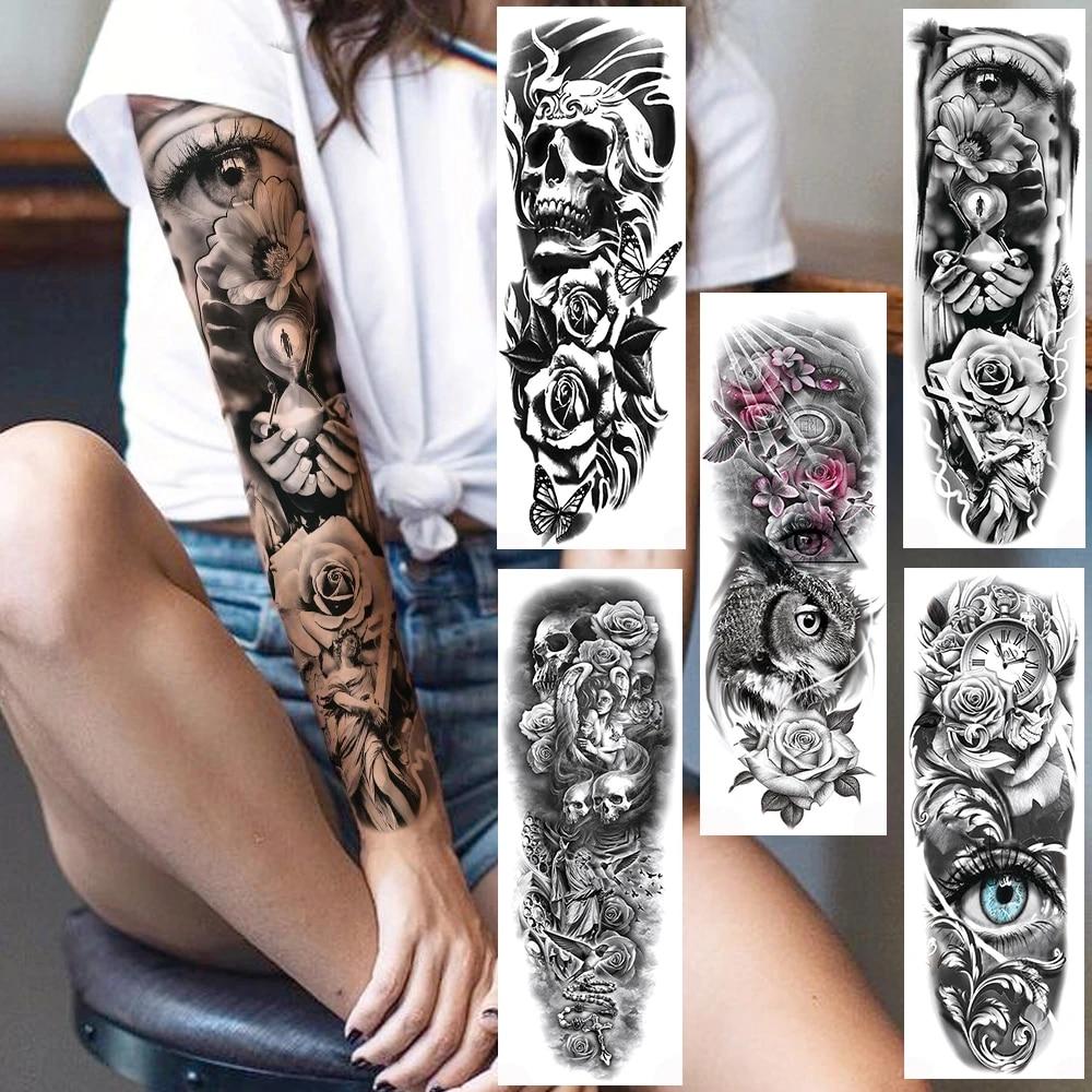 Autocollant De Tatouage Temporaire Bras Complet Crane Rose Realiste Fleurs Art Du Corps 3d Etanche Pour Hommes Et Femmes Aliexpress