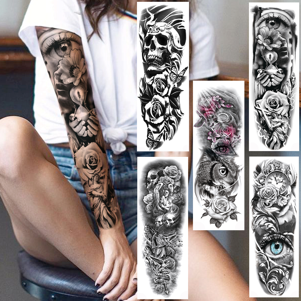 Full Arm Evil Eye Temporary Tattoo Sticker For Men Women Realistic Skull Rose Flower Tatoos Body Art 3D Waterproof Fake Tattoos