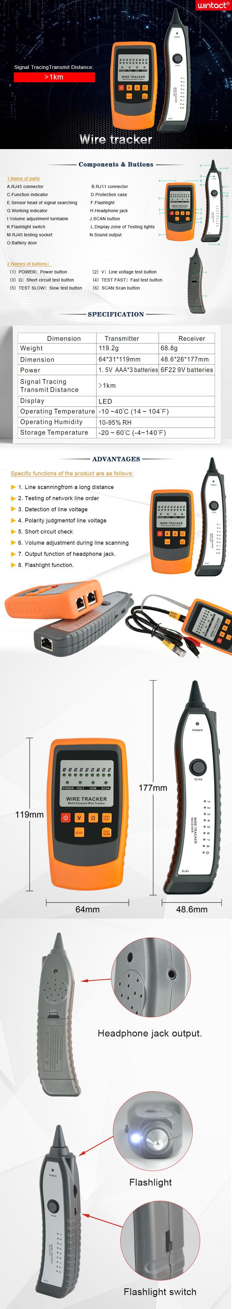 Проводной трекер и анти-помехи более 1 км отслеживание сигнала расстояние передачи Tone Tracer кабельный тестер