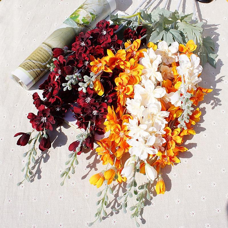 1 Bundle Artificial Plants Vases For Home Decor Christmas Wreath Decor Household Products Silk Delphinium Decorative Flowers