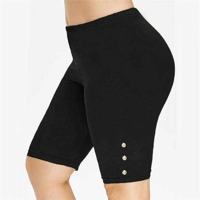NEW 2021 Womens Stretch Biker Bike Shorts Elastic High Waist Short Fitness Workout Polyester Leggins Knee Length Shorts S-2XL 1
